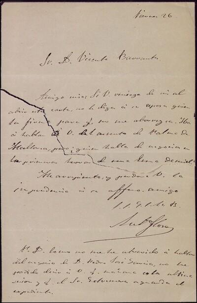 Carta de Julio Flores dirigida a Vicente Barrantes : [ [manuscrito]