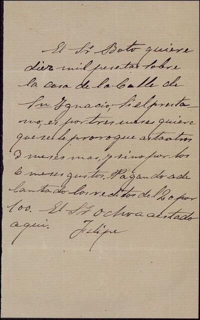 Nota sobre un prestamo solicitado por el señor Boto, y firmada por Felipe : [ [manuscrito]