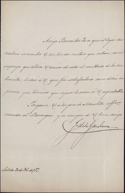 Carta de [Jerónimo] de la Gándara a Vicente Barrantes [ [Manuscrito]