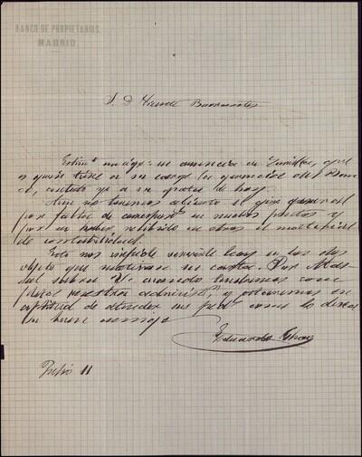 Carta de Eduardo Chao a Vicente Barrantes [ [Manuscrito]