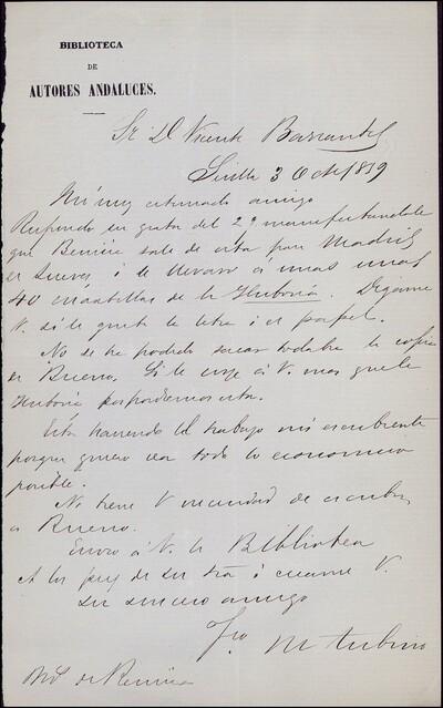 Carta de Francisco María Tubino dirigida a Vicente Barrantes : [ [manuscrito]