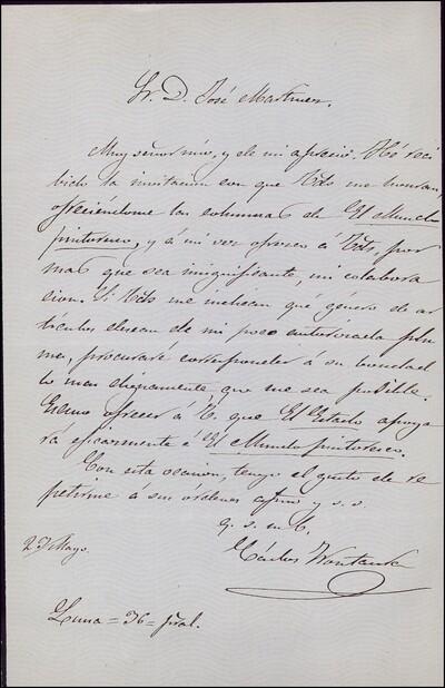 Carta de Carlos Frontaura a José Martínez [ [Manuscrito]
