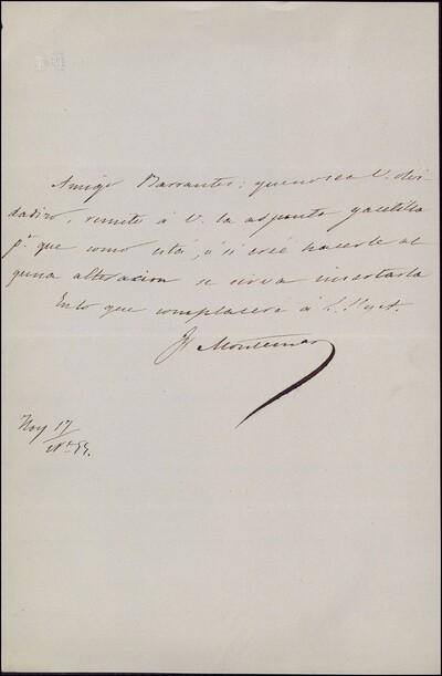Carta de Francisco de Paula Montemar a Vicente Barrantes [ [Manuscrito]