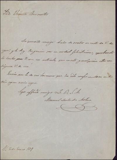 Carta de Manuel Malo de Molina dirigida a Vicente Barrantes : [ [manuscrito]