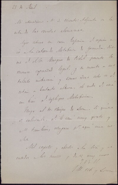 Carta de Juan Manuel Martí y Lara a Vicente Barrantes [ [Manuscrito]
