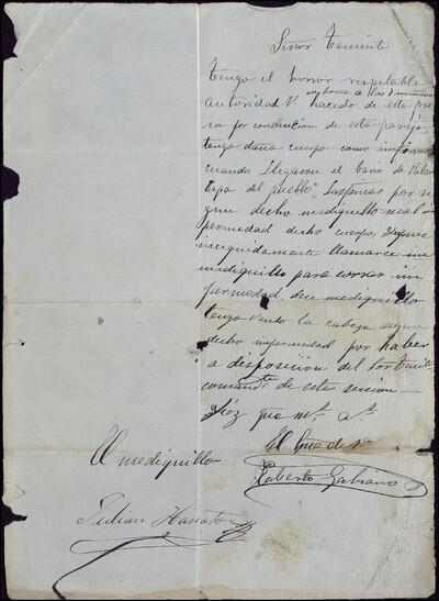 [Carta firmada por Roberto Gabiano y Julián Hanoto, dirigida al Señor teniente] [ [Manuscrito]