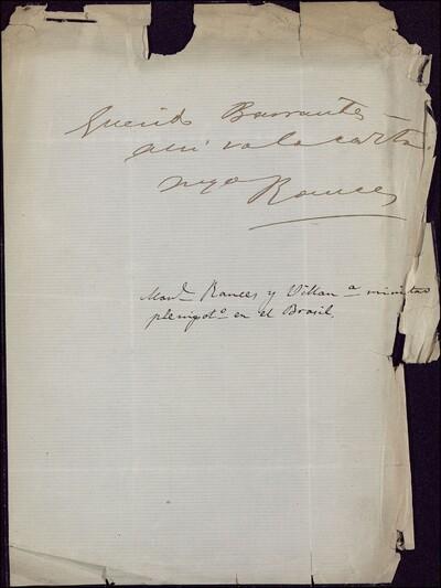 [Nota de Manuel Rancés y Villanueva, Ministro plenipotenciario de Cuba, dirigida a Vicente Barrantes] [ [Manuscrito]