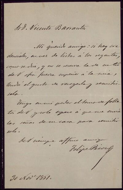 Carta de Felipe [Picouf] dirigida a Vicente Barrantes : [ [manuscrito]