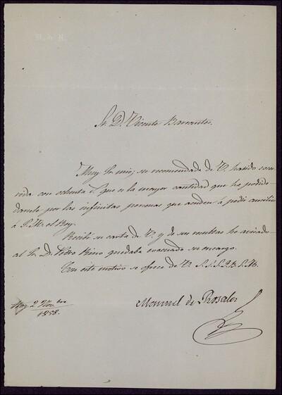 Carta de Manuel de Rosales a Vicente Barrantes [ [Manuscrito]