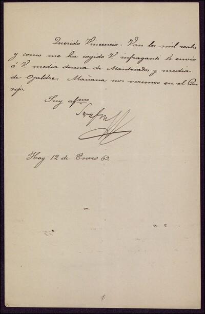 Carta de Serafín [...] dirigida a Vicente Barrantes : [ [manuscrito]