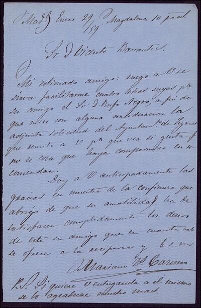 Carta de Mariano Zacarías Cazurro a Vicente Barrantes [ [Manuscrito]