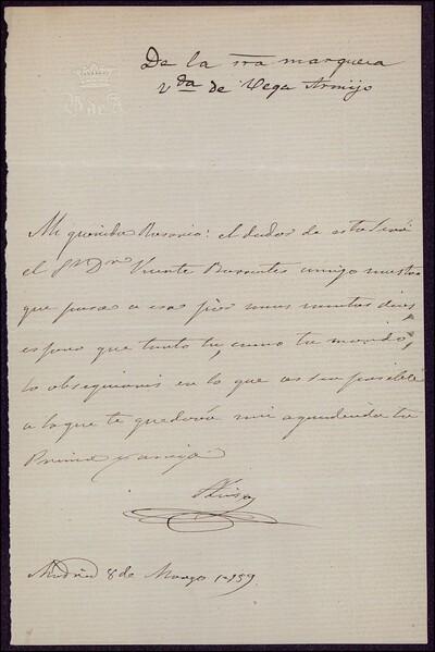 [Carta de Luisa, Marquesa Viuda de Vega Armijo a Rosario] [ [Manuscrito]