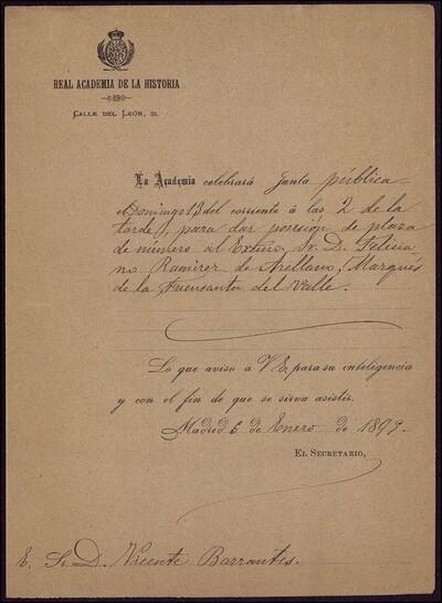 Carta del Secretario de la Real Academia de la Historia dirigida a Vicente Barrantes [ [Manuscrito]