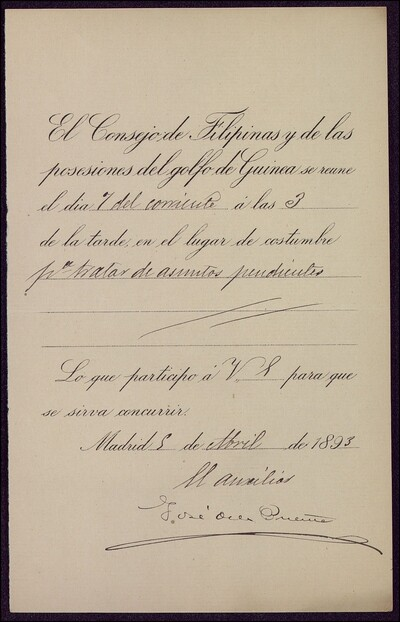 Documento en el cual se insta a Vicente Barrantes a asistir a la reunión del Consejo de Filipinas : [ [manuscrito]