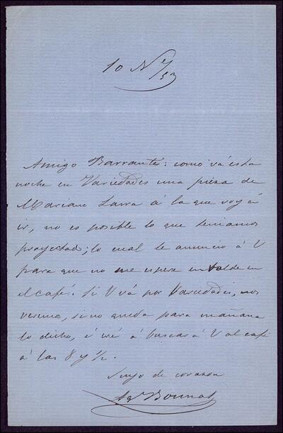 Carta de A. [González] dirigida a Vicente Barrantes : [ [manuscrito]