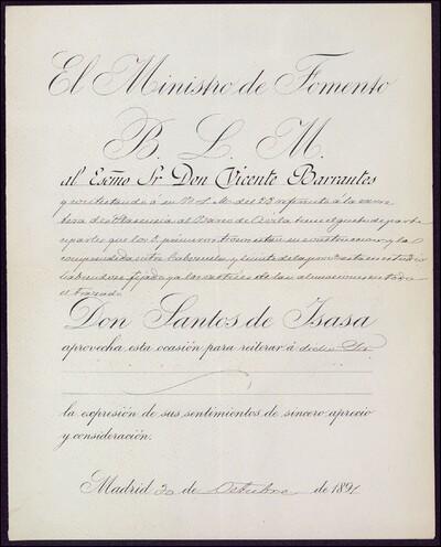 Carta de Santos de Isasa y Valseca, Ministro de Fomento dirigida a Vicente Barrantes : [ [manuscrito]