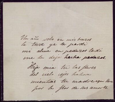 [Poema de Vicente Barrantes] [ [Manuscrito]