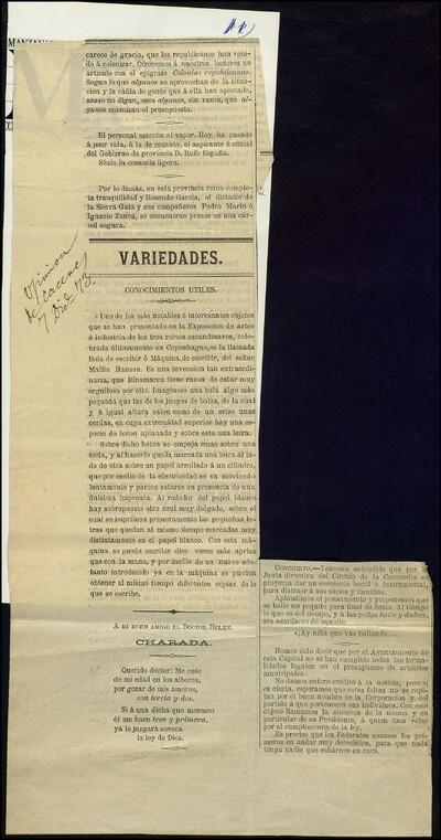 [Artículo periodístico sobre la presentación en la Exposición de artes e industria celebrada en Copenhague de la máquina de escribir de Mallig Hansen]