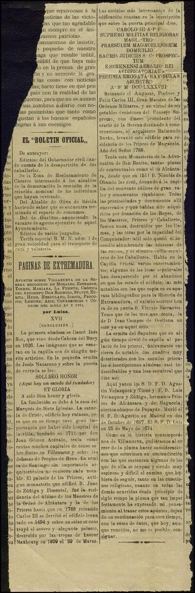 Páginas de Extremadura... XVII (conclusión) /