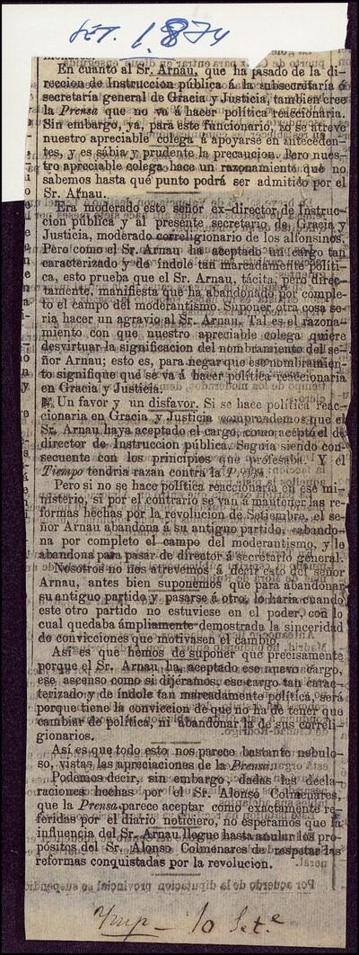[Artículo periodístico sobre el cambio del Sr. Arnau de la Dirección de Instrucción Pública a la Subsecretaría General de Gracia y Justicia]
