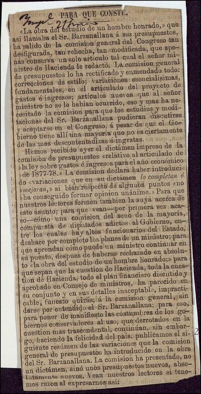 Para que conste : [La obra del estudio de un hombre honrado que así llamaba el Sr. Barzanallana á sus presupuestos ...]