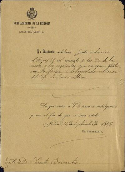 Carta dirigida a Vicente Barrantes para que asista a la Junta ordinaria de la Real Academia de la Historia