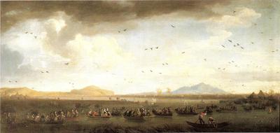 Carlo di Borbone a caccia di folaghe sul lago di Licola