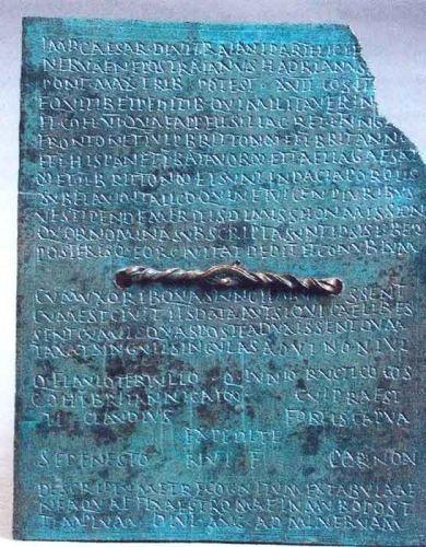 Diplomă militară pentru lăsarea la vatră a soldatului roman Sepenestus din cohors I Britannica millitaria