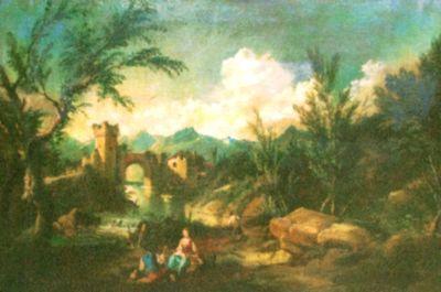 Peisaj cu ruine de cetate