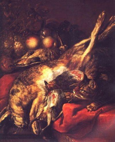 Natură moartă cu pisică; pandant: Natură moartă cu postament de piatră