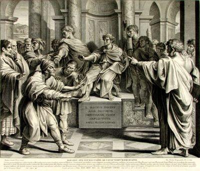 "BAR-IESU SIVE ELYMAS PAPHI AD SAVLI VERBVM EXCAECATVR (Saul/ Paul orbește pe falsul profet Elymas/Bar-Isus); În Reg. Inv.: ""Orbirea lui Variious"""