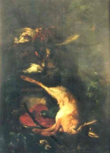 Păsări și iepure mort; pandant; Păsări moarte cu cocoș de munte