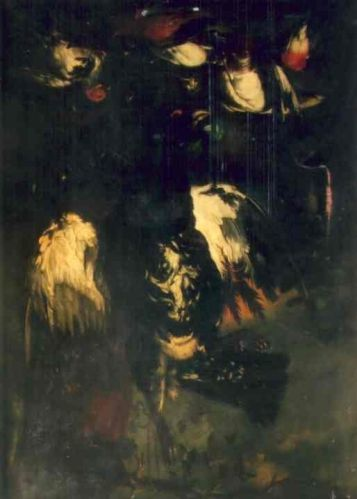 Păsări moarte cu cocoș de munte; pandant; Păsări și iepure mort