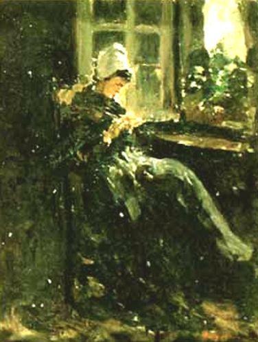 Bretonă lucrând (La fereastră)