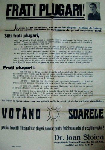 Apel al președintelui Frontului Plugarilor din jud. Cluj, Dr.Ioan Stoica, pentru a vota Soarele