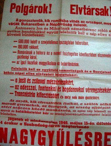 Apel al FND Cluj pt. Marea Adunare Populară în care se cere pedeapsa capitală pentru criminalii de răboi.