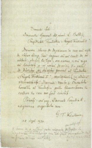 Scrisoare adresată dlui. General Ernest Baliff