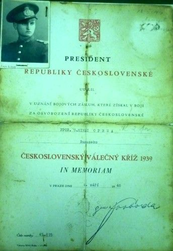 Brevet Medalia Crucea de Război Cehoslovacă