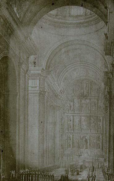 Interior of the Church looking towards the high altar. From the Colección de diferentes vistas del Real Monasterio de San Lorenzo del Escorial
