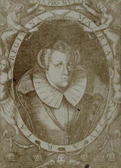 Protait of Mary Queen of Scots. From Corona trágica.  Vida y Muerte de la Serenissima Reyna de Escocia por Lope Félix de Vega Carpio