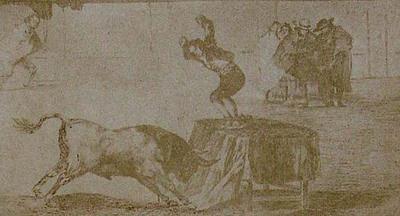 Francisco de Goya y Lucientes. An exploit of Martincho in the bull-ring at Zaragoza. From Goya´s Treinta y tres Estampas que representen diferentes suertes y actitudes del arte de lidiar los Toros