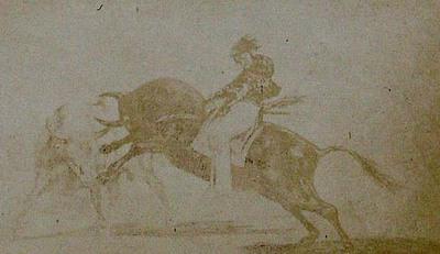 Francisco de Goya y Lucientes. Mariano Ceballos riding a bull in the bull-ring at Madrid. From Goya´s Treinta y tres Estampas que representen diferentes suertes y actitudes del arte de lidiar los Toros