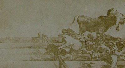 Francisco de Goya y Lucientes. Death of the Alcalde of Torrejon, on the stone seats in the bull-ring at Madrid. From Goya´s Treinta y tres Estampas que representen diferentes suertes y actitudes del arte de lidiar los Toros