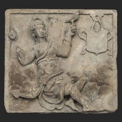 Gevelsteen met personificatie van de 'Hoop' (pendant 10007 'Geloof')