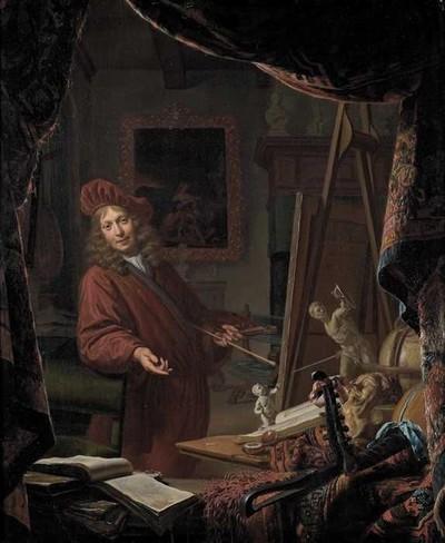Portret van Michiel van Musscher (1645-1705): zelfportret in het atelier