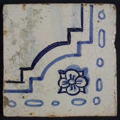 Hoektegel van tegeltableau blauw, wit fond, twee aaneensluitende bijbelse taferelen, met bloemmotief en deel vloer of lucht