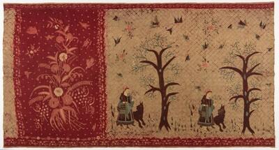 Batik tube skirt depicting the European fairytale 'little red riding hood'