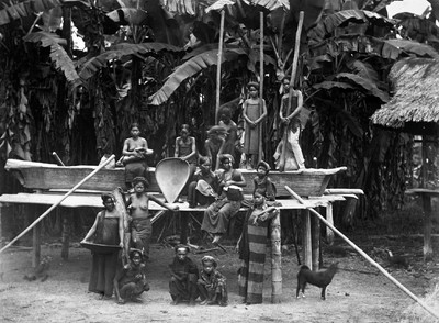 Group portrait Karo Batak people at the place where they are pounding rice