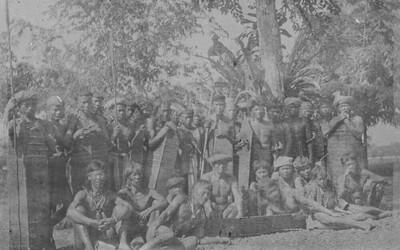 Group portrait of Dayak warriors, Borneo.