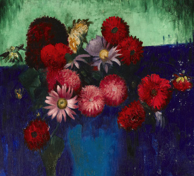 Still Life, Dahlias and Daisies in a Blue Vase